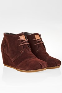 Toms Brown Suede Platform Ankle Boots / Size: 7.5 - Fit: 38.5