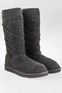 Ugg Grey Classic Knit Boots / Size: 39 - Fit: True to size