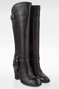 Hogan Black Leather Rodeo Knee High Boots / Size: 36.5 - Fit: True to size