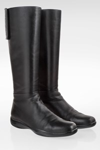 Prada Sport Black Leather Boots with Velcro / Size: 38 - Fit: 38.5