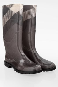 Burberry Grey Check Print PVC Wellington Boots / Size: 38 - Fit: 38.5