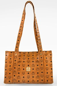 MCM Cognac Visetos Logo Canvas Heritage Top Shopper Bag