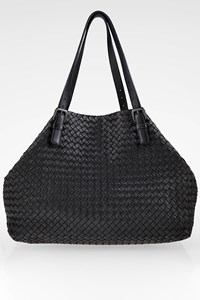 Bottega Veneta Black Cesta Intreccciato Leather Tote Bag