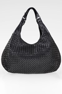 Bottega Veneta Black Campana Intrecciato Leather Hobo Bag