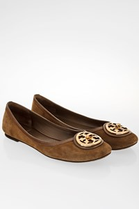 Tory Burch Taupe Suede Selma Ballet Flats / Size: 9.5 M (39.5) - Fit: True to size