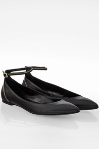 Longchamp Black Leather Ballerinas with Studs / Size: 41 - Fit: True to size