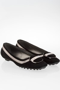 Tod's Black Suede Ballerinas with Silver Leather / Size: 36.5 - Fit: 37
