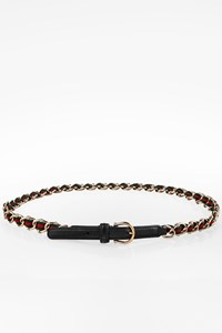 Gucci Black Leather and Web Detail Chain Belt