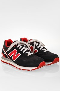 New Balance 574 Black Suede Sneakers with Red Details / Size: 40.5 - Fit: 39