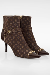 Louis Vuitton Brown Monogram Idylle Pointed Ankle Boots / Size: 38 - Fit: 37