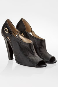 Jimmy Choo Black Leather Peep Toe Ankle Boots / Size: 37.5 - Fit: True to size