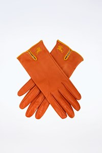 Burberry Burnt-Orange Leather Gloves
