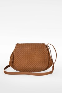 Bottega Veneta Tan Nappa Intrecciato Leather Crossbody Bag