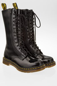 Dr. Martens Black Patent Leather Mid-Calf Boots / Size: 39 - Fit: 38.5