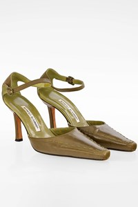 Manolo Blahnik Olive Green Leather Pointed Toe Ankle Strap Pumps / Size: 35.5 - Fit: 36.5