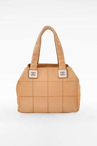 Chanel Beige Square Stitch Bowler Satchel Bag