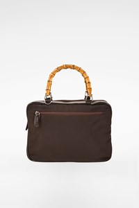 Gucci Brown Patent Leather-Nylon Bamboo Handbag