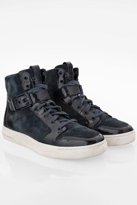 Pierre Balmain Blue Suede-Patent Leather Dope High-Top Sneakers / Size: 42 - Fit: True to size
