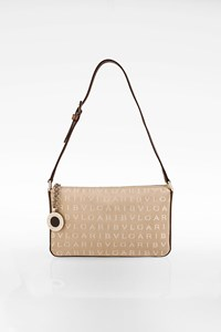 Bulgari Beige-Ecru Kate Monogram Canvas and Leather Pochette