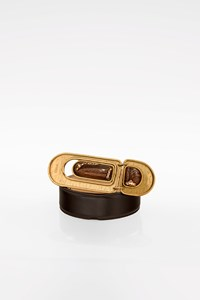 Chloé Brown Leather Belt with Oversize Buckle