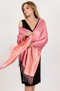 Ralph Lauren Pink-Salmon Shawl with Fringes