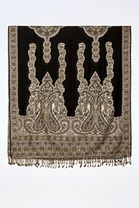 No Brand Black and Ecru Shawl with Gold Sequins and Beads
