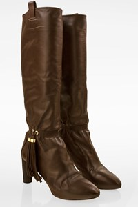 Céline Brown Leather Boots with Fringes / Size: 39 - Fit: True to size