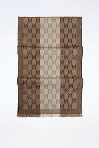 Gucci Beige-Brown Wool Scarf with Logo