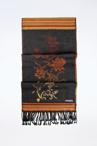 Kenzo Multicoloured Wool Scarf with Embroidered Pattern