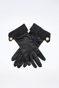 Escada Blue Black Leather-Suede Gloves