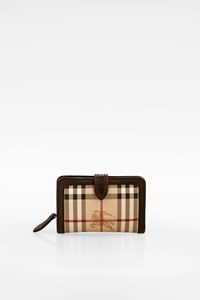 Burberry Haymarket Check Printed Wallet with Brown Details