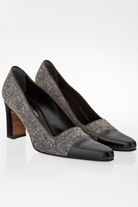 Dior Grey Wool Tweed Pumps with Black Leather Tips/ Size: 38 - Fit: True to size