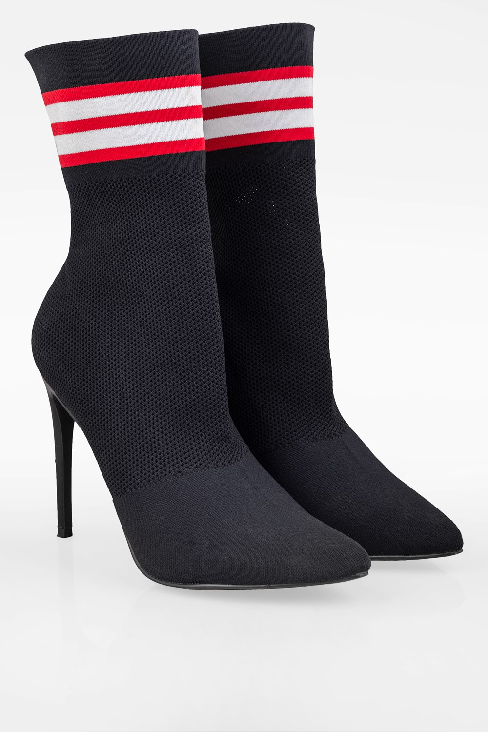 Black Century Sock Ankle Boots with