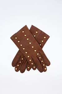 Escada Brown Leather Gloves with Studs