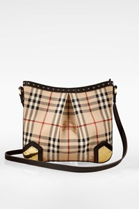 Burberry Haymarket Check Printed Canvas Crossbody Bag with Studs