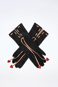 Moschino Black Suede Gloves with Red Hearts