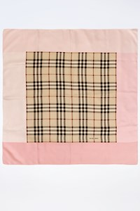 Burberry Beige Check Print Scarf with Pink Trim