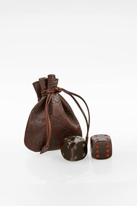 Gucci Set of Oversize Brown Dice in Leather Pouch