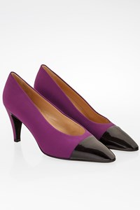Prada Purple Canvas and Leather Cap-Toe Pumps / Size: 38 - Fit: True to size