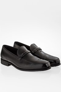 Tod's Black Polished Leather Loafers with Metallic Buckle / Size: 41.5