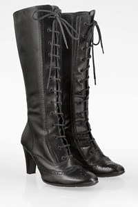 Fosco Black Leather Lace Up Boots / Size: 38 - Fit: 38.5