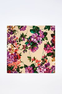 Dolce & Gabbana Ecru Scarf with Multicoloured Flower