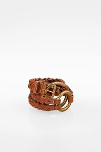 Ralph Lauren Tan Braided Leather Belt