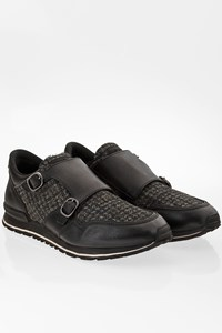 Tod's Black Leather and Tweed Men's Sneakers / Size: 7.5 (41.5) - Fit: True to size