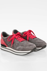 Hogan Grey-Red Suede Sneakers / Size: 37.5 - Fit: True to size