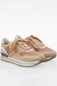 Hogan Nude Suede Sneakers with Silver Leather Details / Size: 37 - Fit: True to size