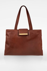 Bulgari Brown-Red Leather Tote Bag