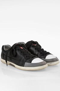 Prada Black Leather Lace Up Men's Sneakers / Size: 41 (7) - Fit: True to size
