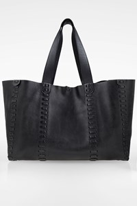 Zeus + Dione Black Leather Ithaca Tote Bag