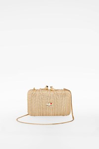 Moschino Gold Woven Clutch
